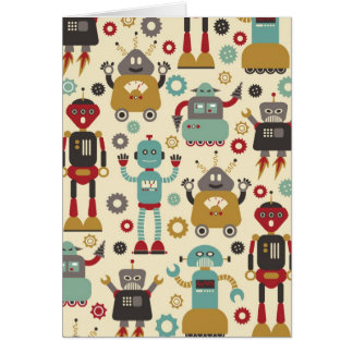 Retro Robots (Cream) Blank Note Card