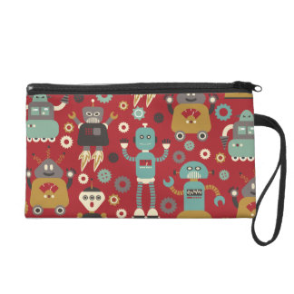 Retro Robots (Red) Bagettes Bag Wristlet Purse