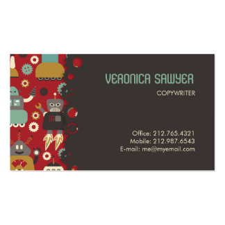 Retro Robots (Red) Biz Card Business Card Templates