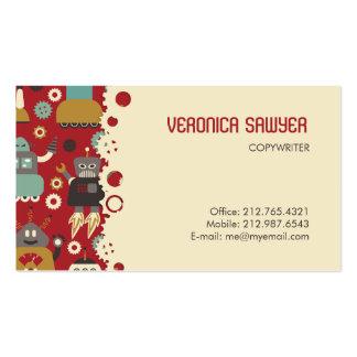 Retro Robots (Red-Cream) Biz Card Business Card