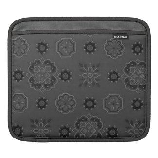 Retro Rockabilly Vintage Bandanna Charcoal Steel iPad Sleeves