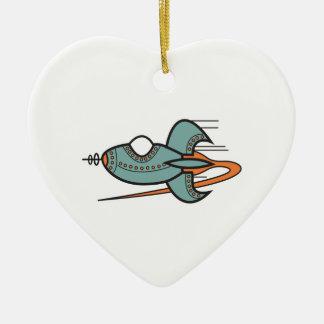 retro rocket ceramic heart decoration