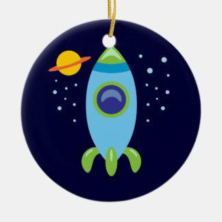 Retro Rocket Christmas Ornament
