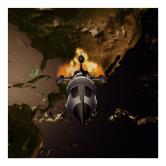 Retro Rocket Launch Poster