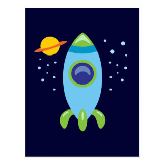 Retro Rocket Postcard