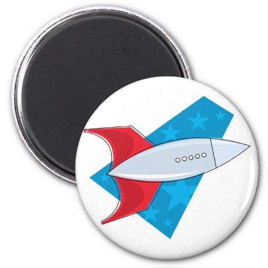 Retro Rocket Ship 6 Cm Round Magnet
