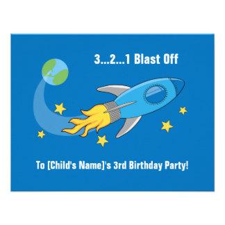 Retro Rocket Ship Birthday Invite