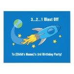 Retro Rocket Ship Birthday Invite 11 Cm X 14 Cm Invitation Card