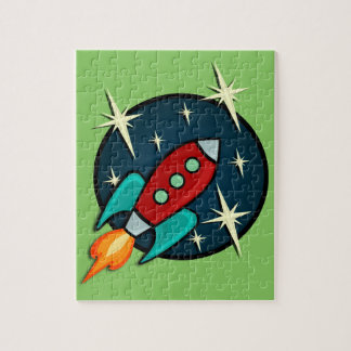 RETRO ROCKET SHIP ILLUSTRATION JIGSAW PUZZLE