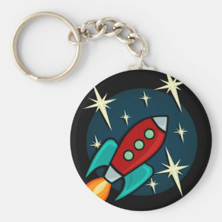 RETRO ROCKET SHIP ROUND KEY CHAIN
