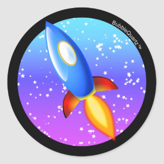 Retro rocket stickers 2