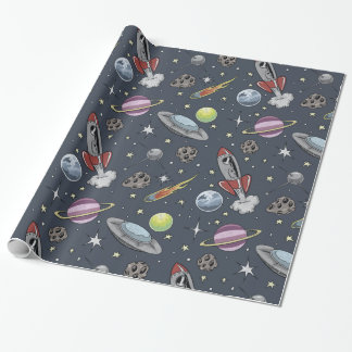 Retro Rockets Wrapping Paper