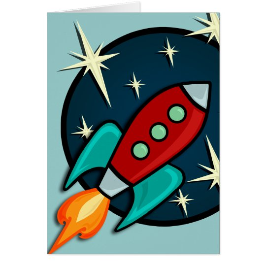 RETRO ROCKETSHIP GREETING CARD