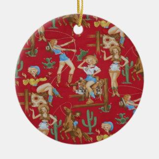 Retro Rodeo Cowgirls Christmas Tree Ornament