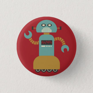 Retro Roller Robot Flair Button