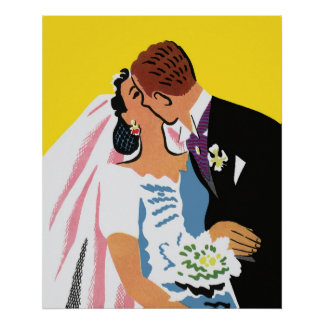Retro Romance You May Now Kiss the Bride Posters