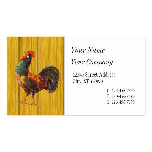 Retro Rooster Custom Business Cards