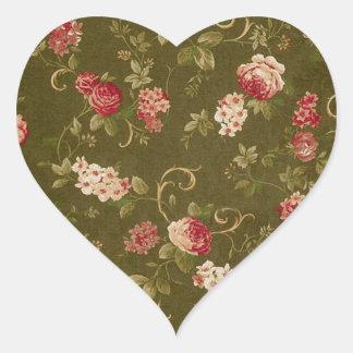 Retro rose & olive pattern heart sticker