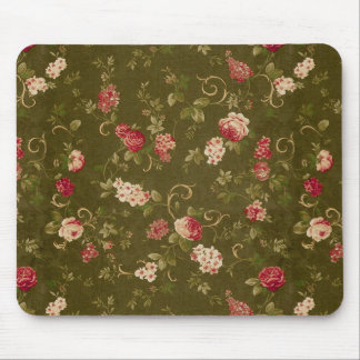 Retro rose & olive pattern mouse pad