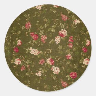 Retro rose & olive pattern round sticker