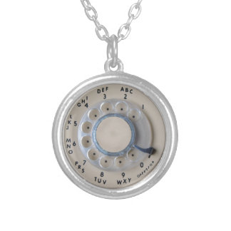 Retro Rotary Phone Dial Silver Plated Necklace