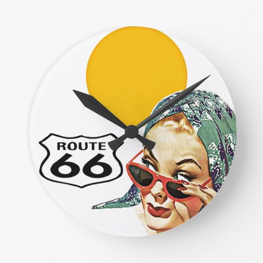 Retro Route 66 Fun PinUp Sunshine Clock Vintage