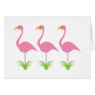Retro Row of Three Pink Flamingos Fun and Cute Note Card