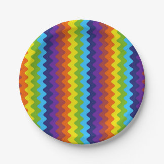 Retro Rows of Rickrack Paper Plates 7 Inch Paper Plate