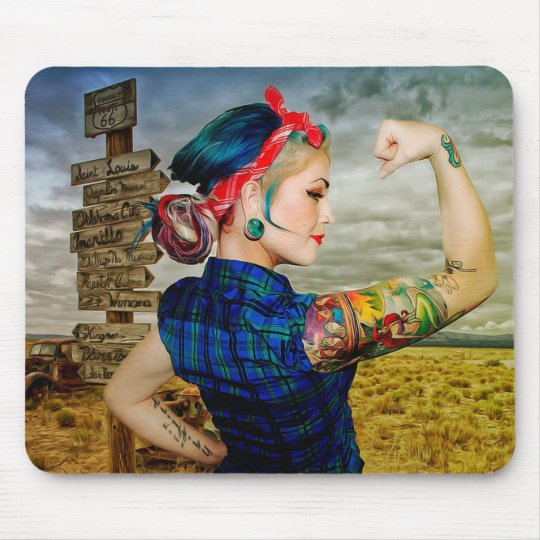 Retro Rt 66 Tattooed Bandanna Woman Mouse Pad