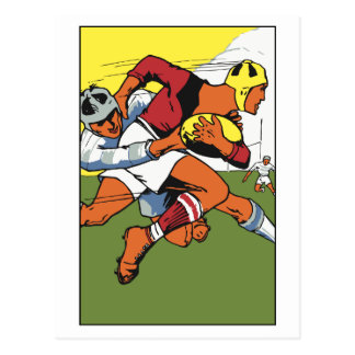 Retro rugby championship ad postcard