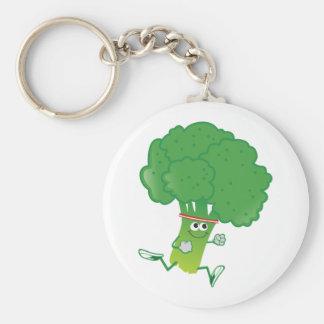 Retro Running Broccoli Basic Round Button Key Ring