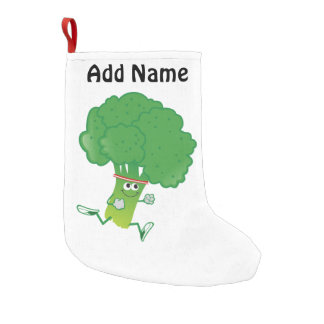 Retro Running Broccoli Small Christmas Stocking