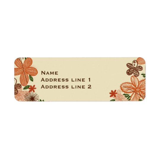 Retro Rust Orange Flowers Address Labels
