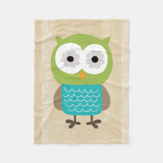Retro Rustic Custom Owl Fleece Blanket