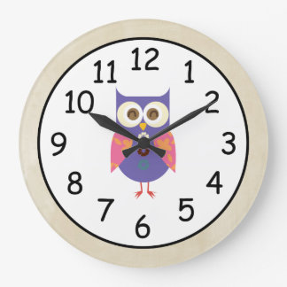 Retro Rustic Custom Owl Large Clock