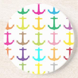 Retro sailors nautical anchor pattern sandstone coaster