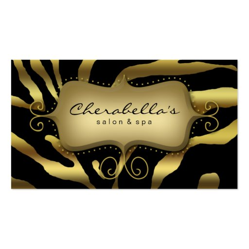 Retro Salon Spa Business Card Zebra Gold