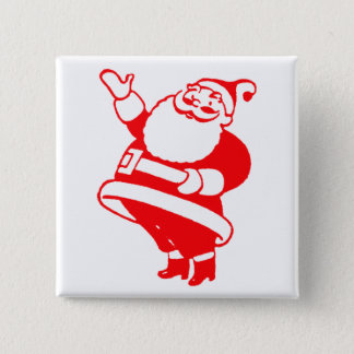 Retro Santa 15 Cm Square Badge