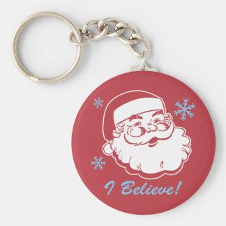 Retro Santa Believe Key Ring