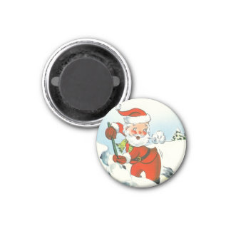 Retro Santa Christmas 3 Cm Round Magnet