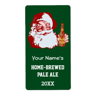 Retro Santa Claus with a Beer Christmas Bottle Shipping Label