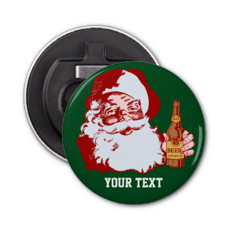 Retro Santa Claus with a Beer Christmas Custom Bottle Opener