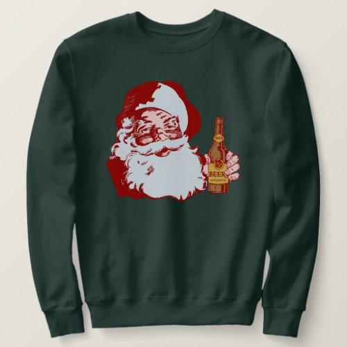 Retro Santa Claus with a Beer Christmas Sweatshirt