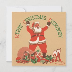 Retro Santa Flat Christmas Card