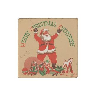 Retro Santa Merry Christmas Stone Magnet