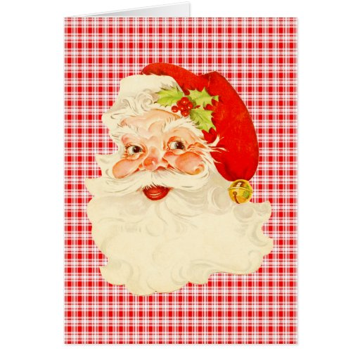 Retro Santa on Plaid Greeting Cards