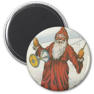 Retro Santa Playing With Toys Refrigerator Magnets