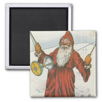 Retro Santa Playing With Toys Square Magnet
