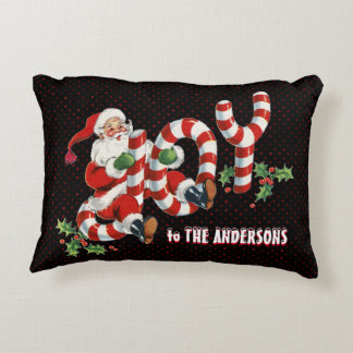 Retro Santa Sending Joy Christmas Personalized Decorative Cushion