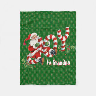 Retro Santa Sending Joy Christmas Personalized Fleece Blanket